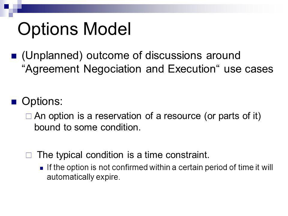 Options Model (Unplanned) outcome of discussions around Agreement Negociation and Execution use cases Options:  An option is a reservation of a resource (or parts of it) bound to some condition.