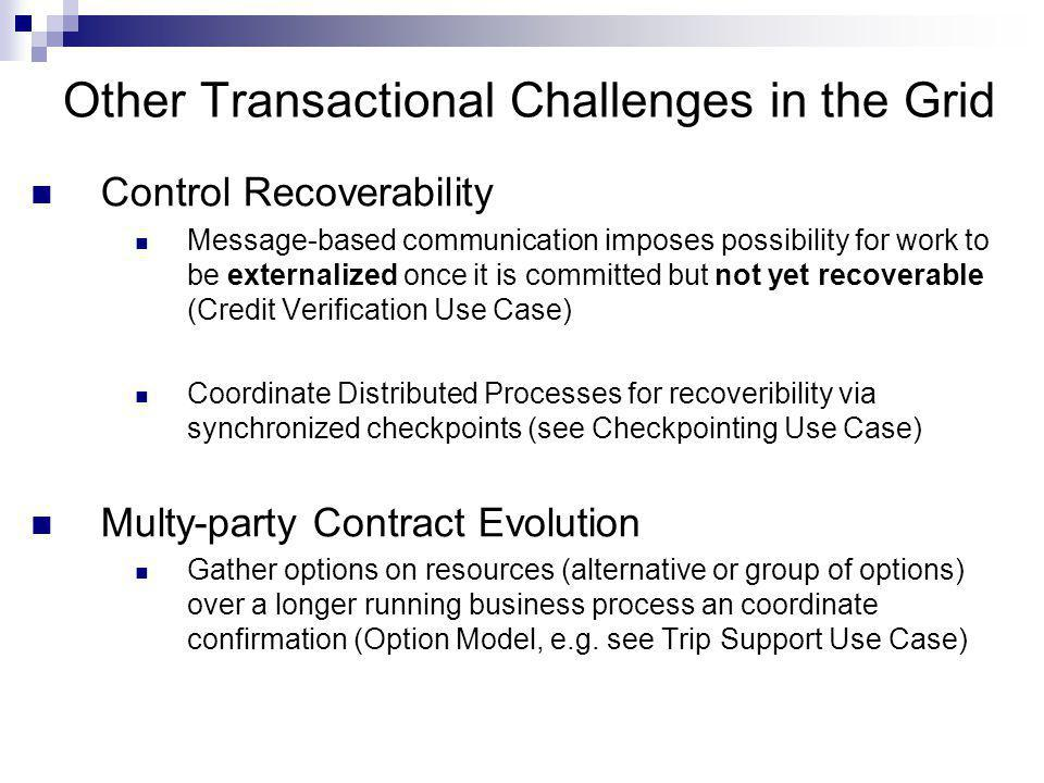 Other Transactional Challenges in the Grid Control Recoverability Message-based communication imposes possibility for work to be externalized once it is committed but not yet recoverable (Credit Verification Use Case) Coordinate Distributed Processes for recoveribility via synchronized checkpoints (see Checkpointing Use Case) Multy-party Contract Evolution Gather options on resources (alternative or group of options) over a longer running business process an coordinate confirmation (Option Model, e.g.