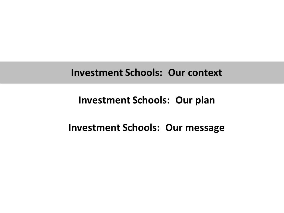 3 Investment Schools: Our context Investment Schools: Our plan Investment Schools: Our message