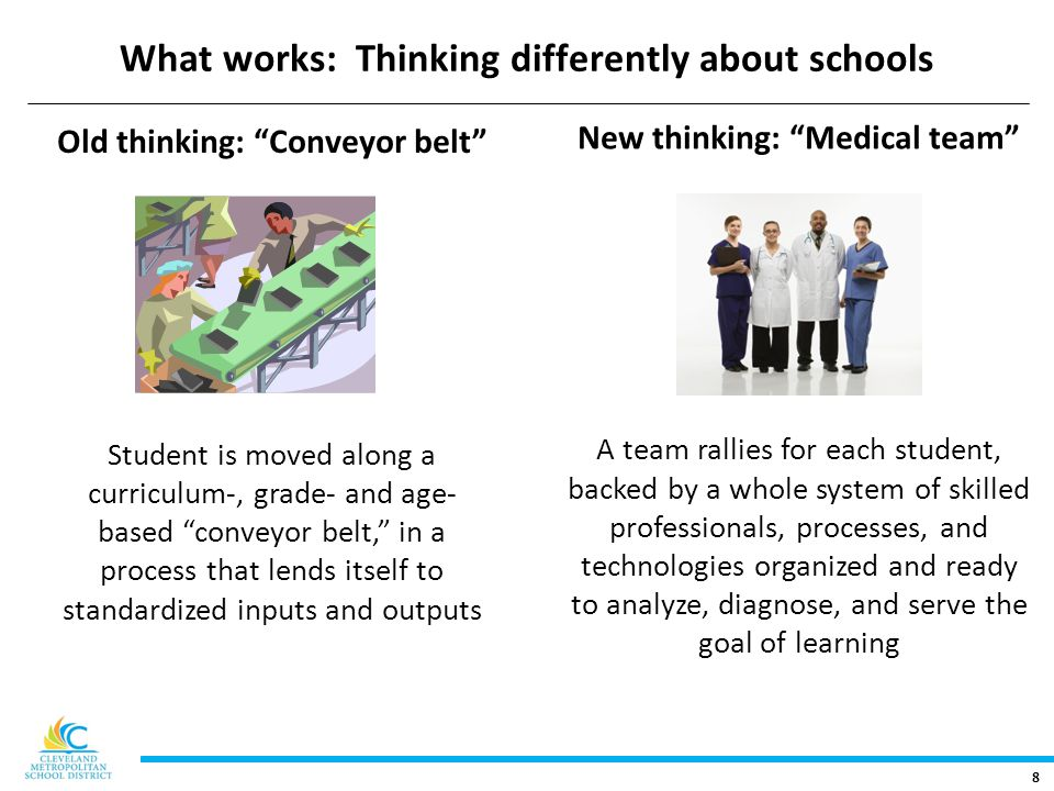 8 What works: Thinking differently about schools Old thinking: Conveyor belt Student is moved along a curriculum-, grade- and age- based conveyor belt, in a process that lends itself to standardized inputs and outputs New thinking: Medical team A team rallies for each student, backed by a whole system of skilled professionals, processes, and technologies organized and ready to analyze, diagnose, and serve the goal of learning