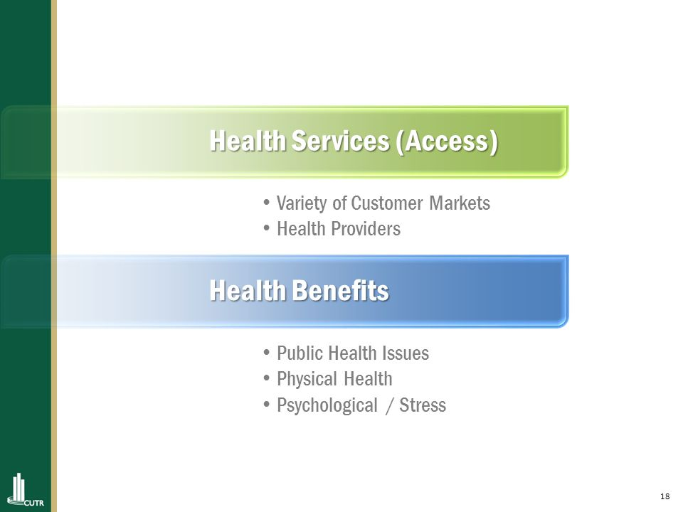 18 Health Services (Access) Variety of Customer Markets Health Providers Health Benefits Public Health Issues Physical Health Psychological / Stress