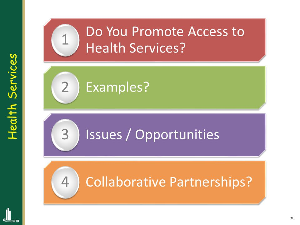 36 Do You Promote Access to Health Services. 1 Examples.