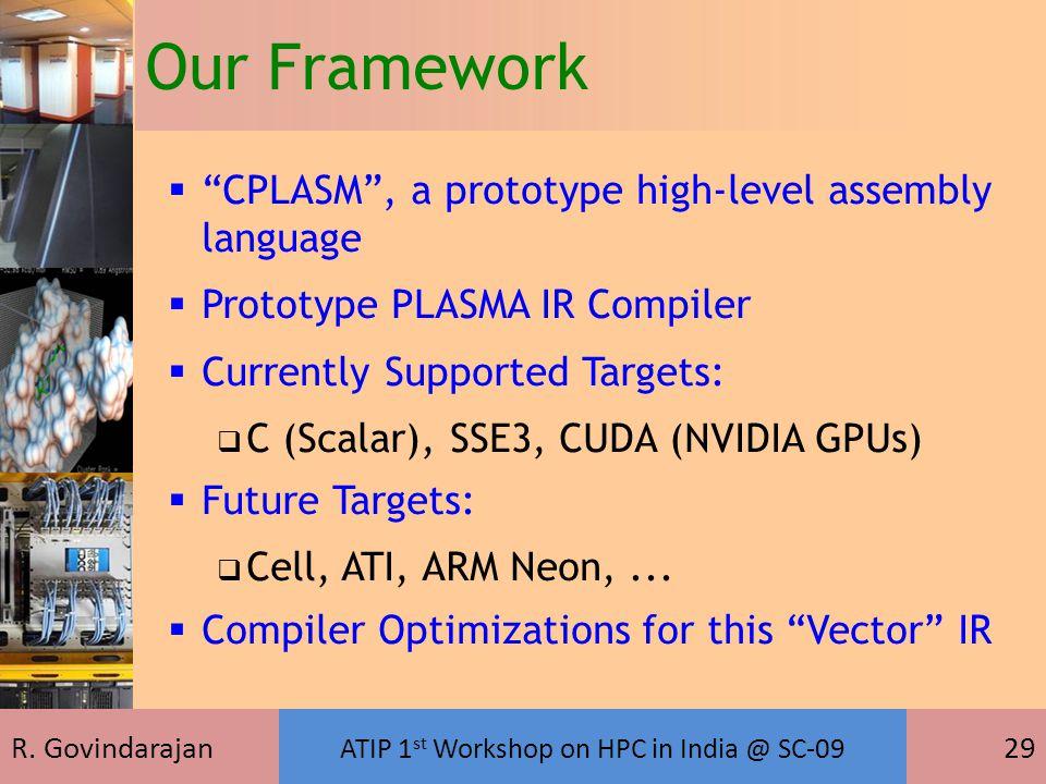 "R. Govindarajan ATIP 1 st Workshop on HPC in India @ SC-09 29  ""CPLASM"", a prototype high-level assembly language  Prototype PLASMA IR Compiler  Cu"
