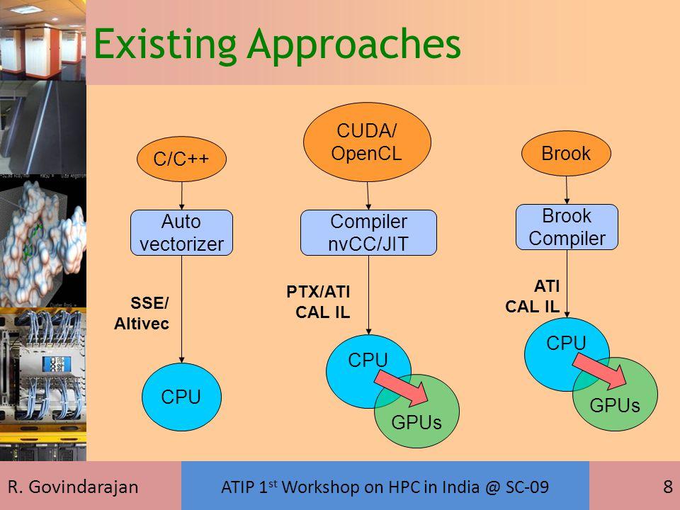 R. Govindarajan ATIP 1 st Workshop on HPC in India @ SC-09 8 C/C++ CPU Auto vectorizer SSE/ Altivec CUDA/ OpenCL Compiler nvCC/JIT CPU GPUs PTX/ATI CA