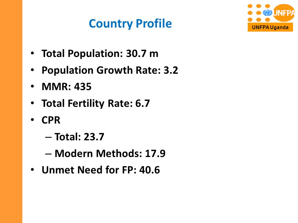 Country Profile Total Population: 30.7 m Population Growth Rate: 3.2 MMR: 435 Total Fertility Rate: 6.7 CPR – Total: 23.7 – Modern Methods: 17.9 Unmet Need for FP: 40.6 UNFPA Uganda