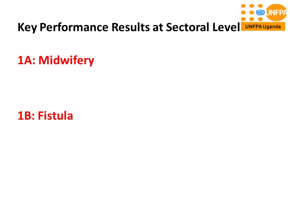 Key Performance Results at Sectoral Level 1A: Midwifery 1B: Fistula UNFPA Uganda