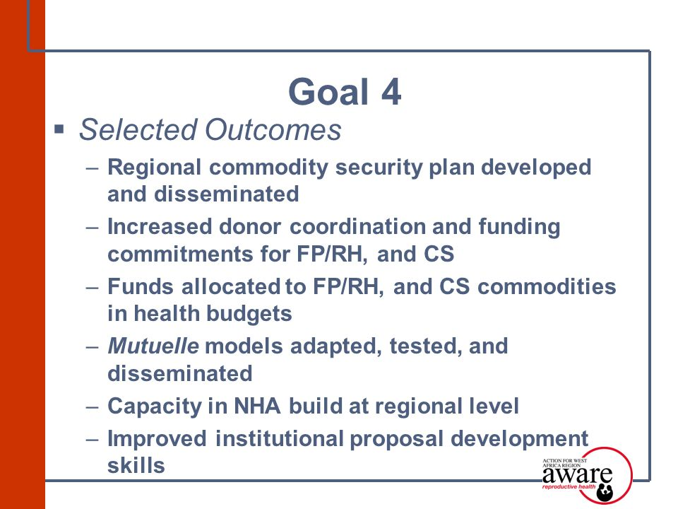  Selected Outcomes –Regional commodity security plan developed and disseminated –Increased donor coordination and funding commitments for FP/RH, and CS –Funds allocated to FP/RH, and CS commodities in health budgets –Mutuelle models adapted, tested, and disseminated –Capacity in NHA build at regional level –Improved institutional proposal development skills Goal 4