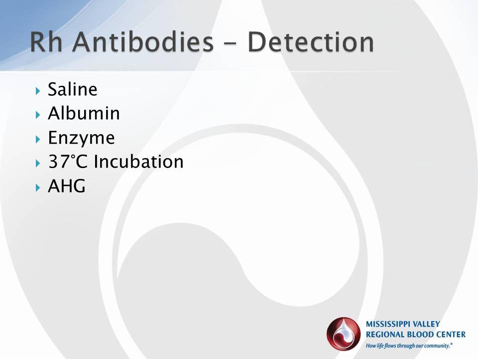  Saline  Albumin  Enzyme  37°C Incubation  AHG