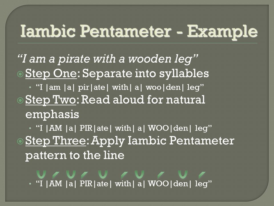 Iambic Pentameter - Example I am a pirate with a wooden leg  Step One: Separate into syllables I |am |a| pir|ate| with| a| woo|den| leg  Step Two: Read aloud for natural emphasis I |AM |a| PIR|ate| with| a| WOO|den| leg  Step Three: Apply Iambic Pentameter pattern to the line I |AM |a| PIR|ate| with| a| WOO|den| leg