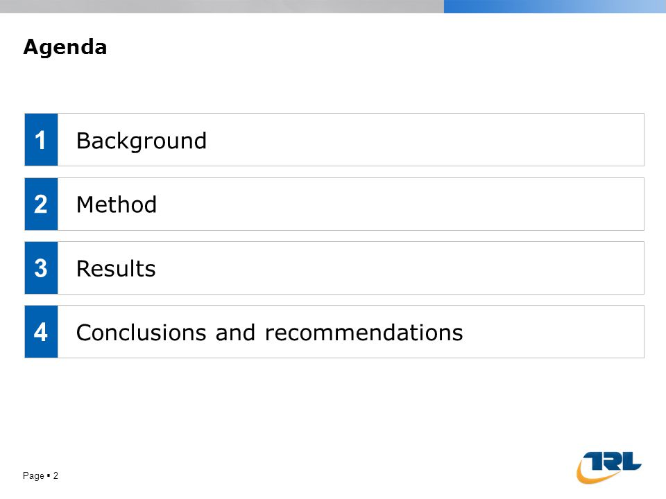 Page  2 Agenda Background Method Results Conclusions and recommendations 1 2 3 4