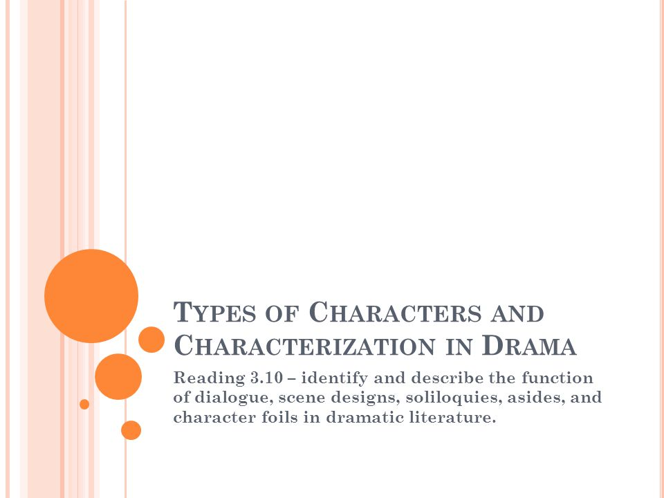 T YPES OF C HARACTERS AND C HARACTERIZATION IN D RAMA Reading 3.10 – identify and describe the function of dialogue, scene designs, soliloquies, asides, and character foils in dramatic literature.