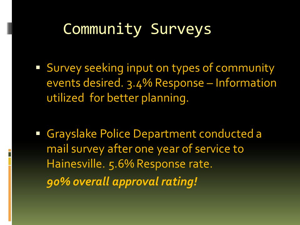 Community Surveys  Survey seeking input on types of community events desired.