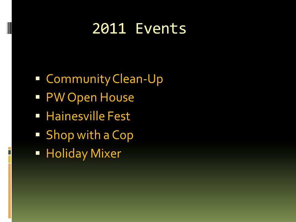 2011 Events  Community Clean-Up  PW Open House  Hainesville Fest  Shop with a Cop  Holiday Mixer