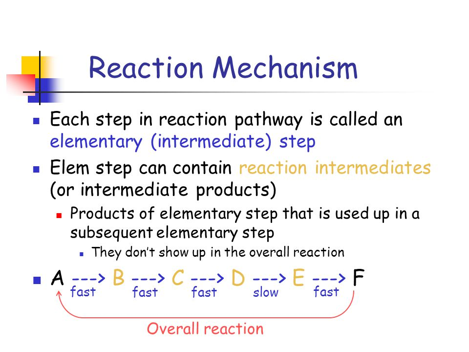 Reaction Mechanism Each step in reaction pathway is called an elementary (intermediate) step Elem step can contain reaction intermediates (or intermediate products) Products of elementary step that is used up in a subsequent elementary step They don't show up in the overall reaction A ---> B ---> C ---> D ---> E ---> F fast slow fast Overall reaction