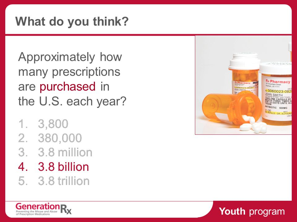 Youth program What do you think. Approximately how many prescriptions are purchased in the U.S.