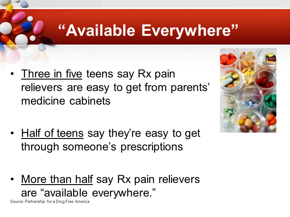 Available Everywhere Three in five teens say Rx pain relievers are easy to get from parents' medicine cabinets Half of teens say they're easy to get through someone's prescriptions More than half say Rx pain relievers are available everywhere. Source: Partnership for a Drug Free America
