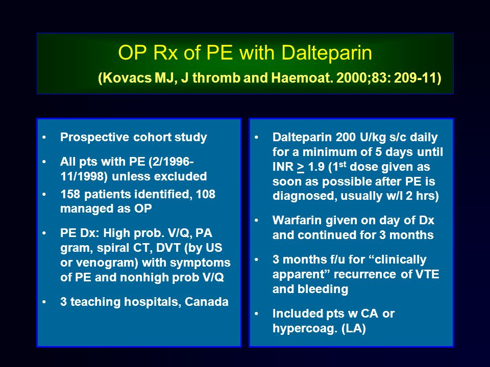 OP Rx of PE with Dalteparin (Kovacs MJ, J thromb and Haemoat.