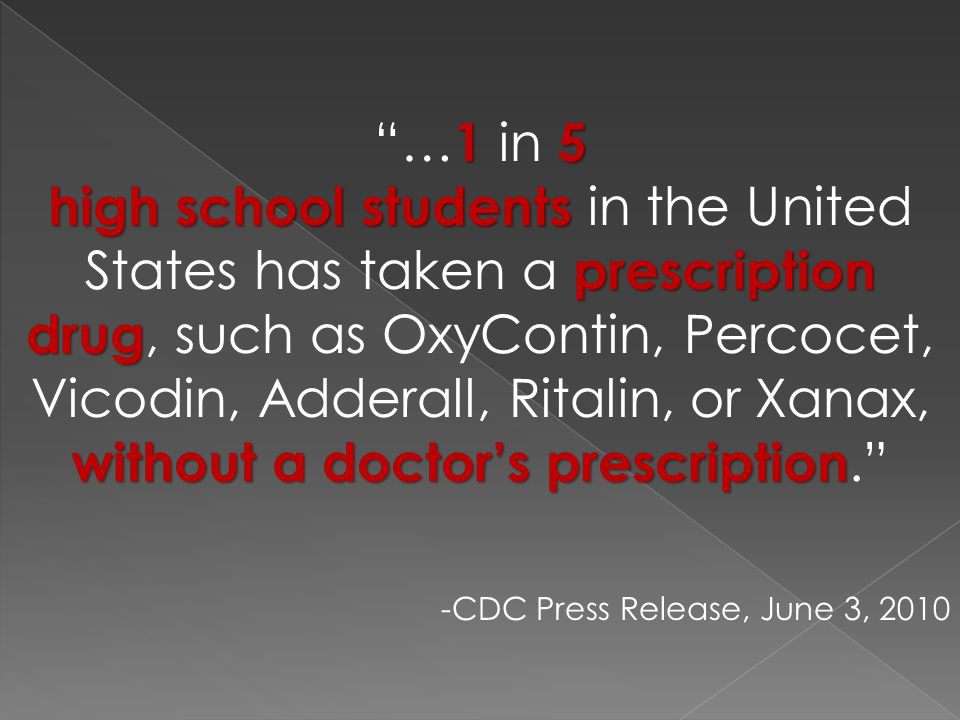 15 … 1 in 5 high school students prescription drug without a doctor's prescription high school students in the United States has taken a prescription drug, such as OxyContin, Percocet, Vicodin, Adderall, Ritalin, or Xanax, without a doctor's prescription. -CDC Press Release, June 3, 2010