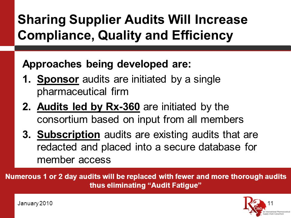 Sharing Supplier Audits Will Increase Compliance, Quality and Efficiency Approaches being developed are: 1.Sponsor audits are initiated by a single pharmaceutical firm 2.Audits led by Rx-360 are initiated by the consortium based on input from all members 3.Subscription audits are existing audits that are redacted and placed into a secure database for member access January 201011 Numerous 1 or 2 day audits will be replaced with fewer and more thorough audits thus eliminating Audit Fatigue