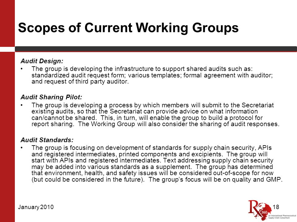 Scopes of Current Working Groups Audit Design: The group is developing the infrastructure to support shared audits such as: standardized audit request form; various templates; formal agreement with auditor; and request of third party auditor.