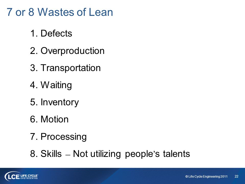 22 © Life Cycle Engineering 2011 7 or 8 Wastes of Lean 1.