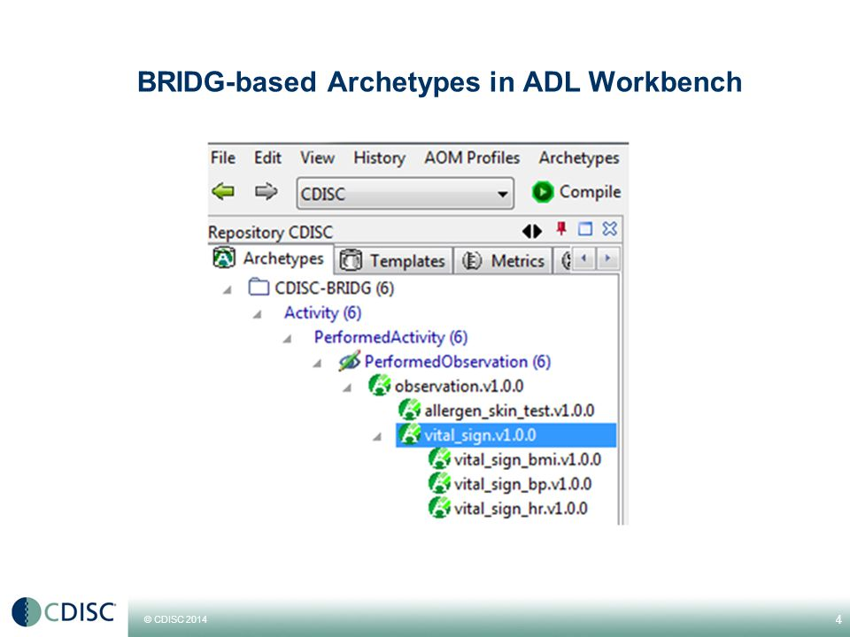 © CDISC 2014 BRIDG-based Archetypes in ADL Workbench 4