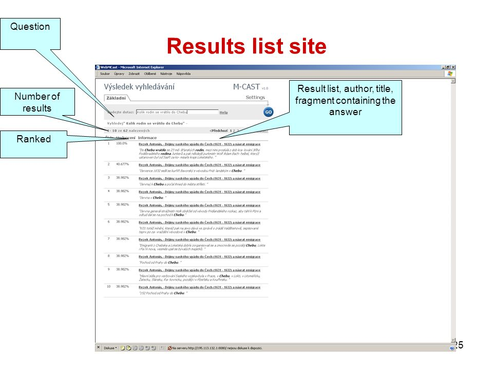 25 Results list site Question Number of results Ranked Result list, author, title, fragment containing the answer