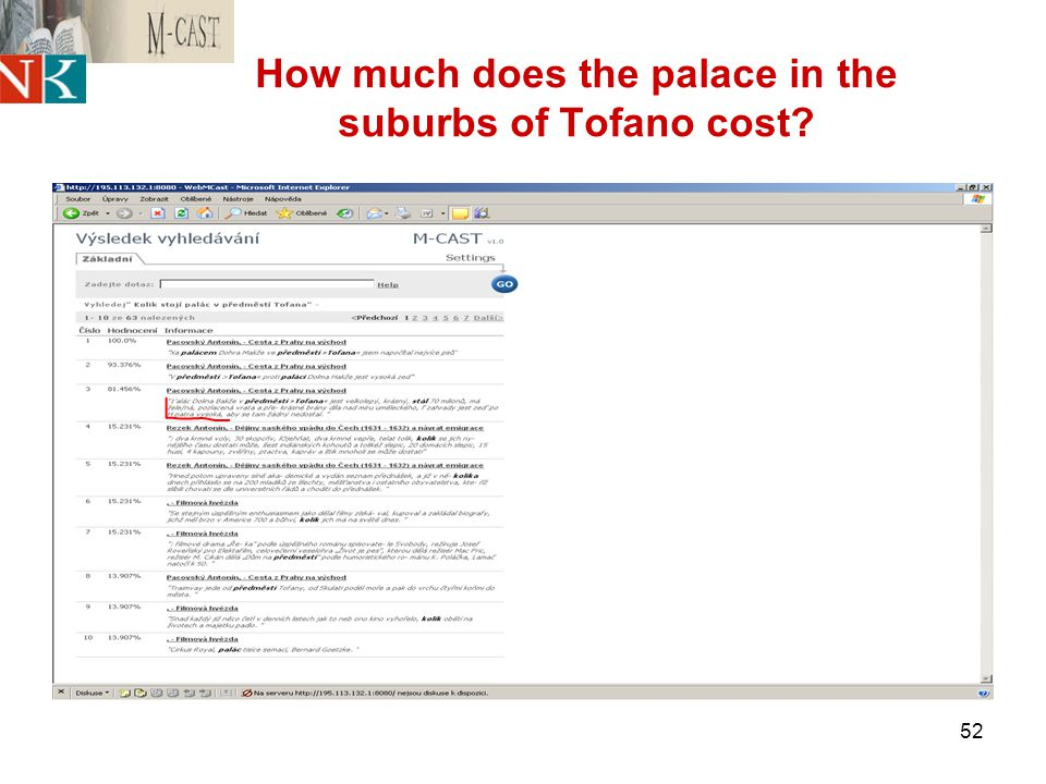 52 How much does the palace in the suburbs of Tofano cost