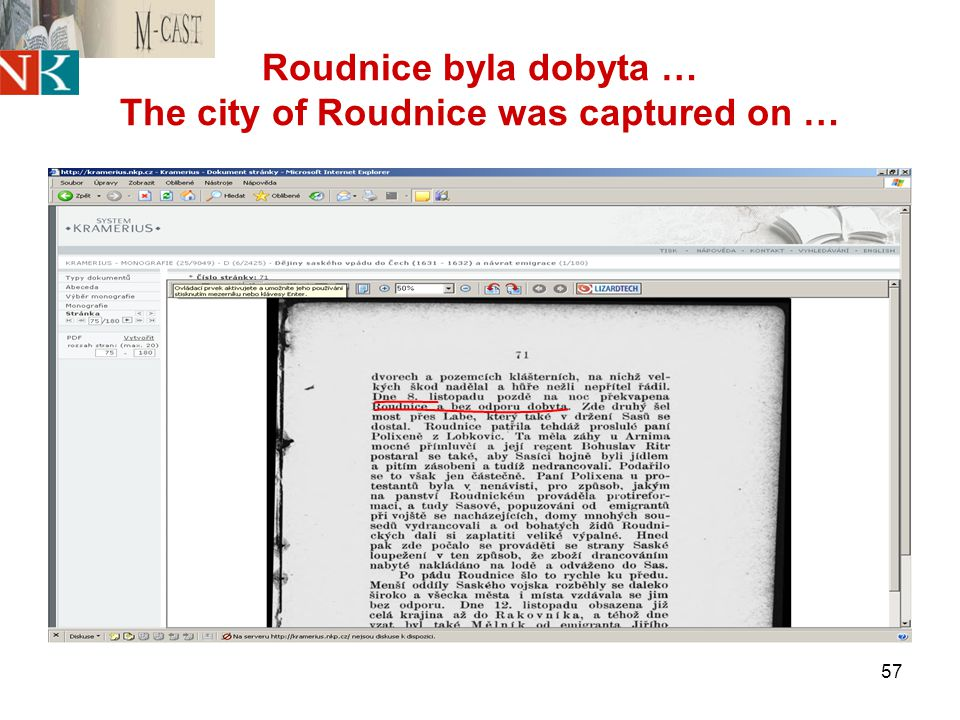 57 Roudnice byla dobyta … The city of Roudnice was captured on …