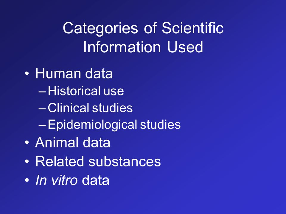 Categories of Scientific Information Used Human data –Historical use –Clinical studies –Epidemiological studies Animal data Related substances In vitro data