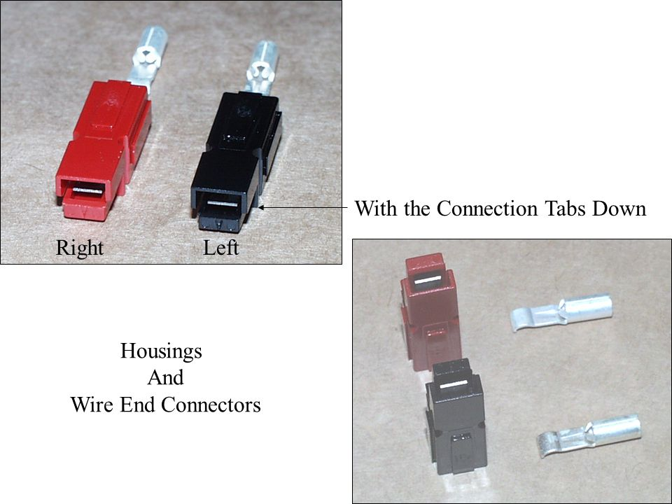 Housings And Wire End Connectors With the Connection Tabs Down LeftRight
