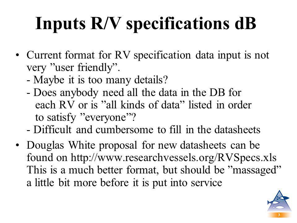 3 3 Inputs R/V specifications dB Current format for RV specification data input is not very user friendly .
