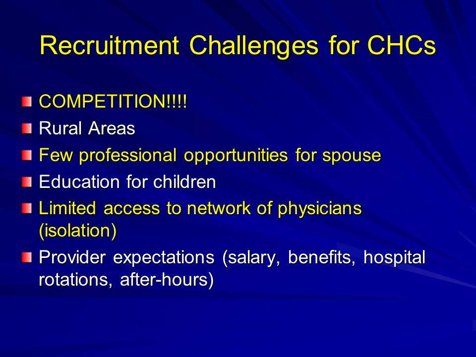 Recruitment Challenges for CHCs COMPETITION!!!.