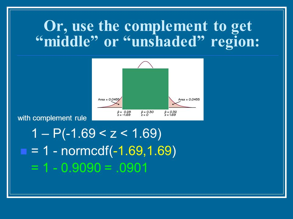 """Or, use the complement to get """"middle"""" or """"unshaded"""" region: 1 – P(-1.69 < z < 1.69) = 1 - normcdf(-1.69,1.69) = 1 - 0.9090 =.0901 with complement rul"""