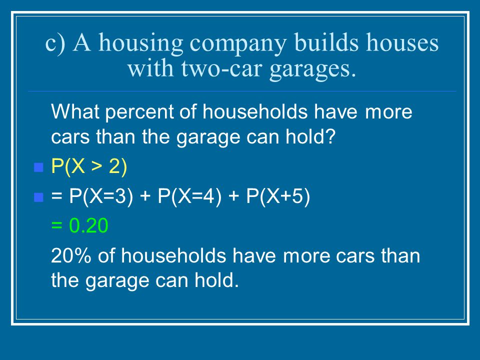 c) A housing company builds houses with two-car garages. What percent of households have more cars than the garage can hold? P(X > 2) = P(X=3) + P(X=4
