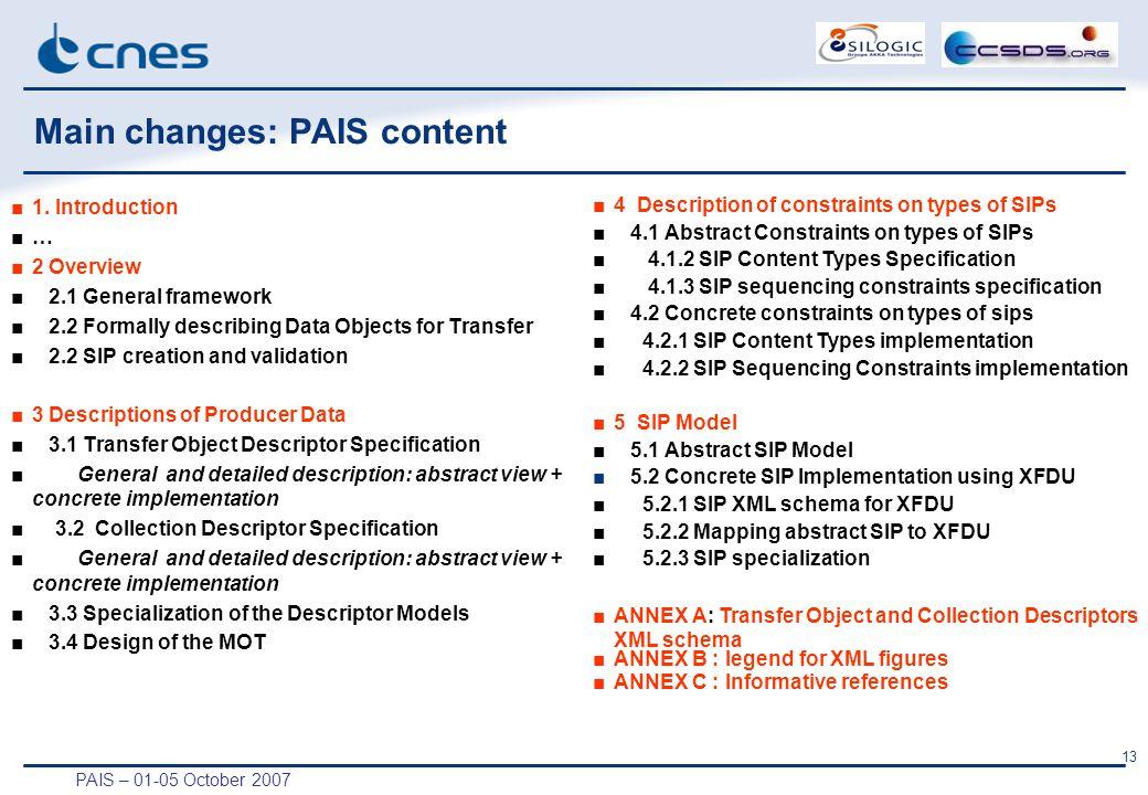 PAIS – 01-05 October 2007 13 Main changes: PAIS content ■1.