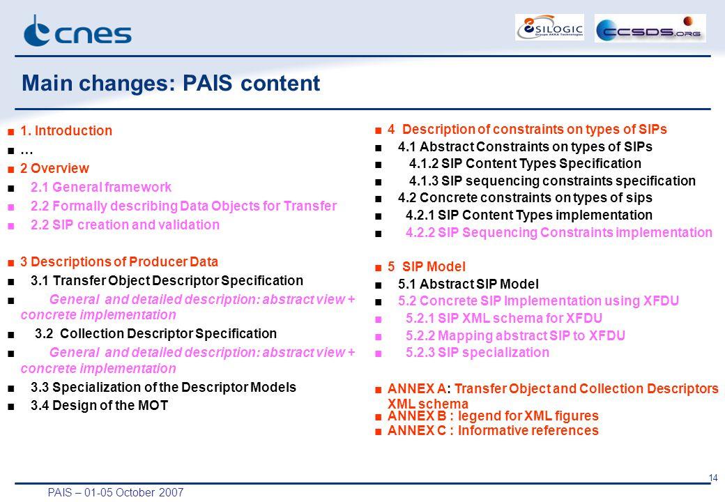 PAIS – 01-05 October 2007 14 Main changes: PAIS content ■1.