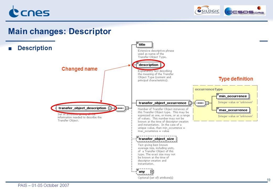 PAIS – 01-05 October 2007 19 Main changes: Descriptor ■Description Changed name Type definition