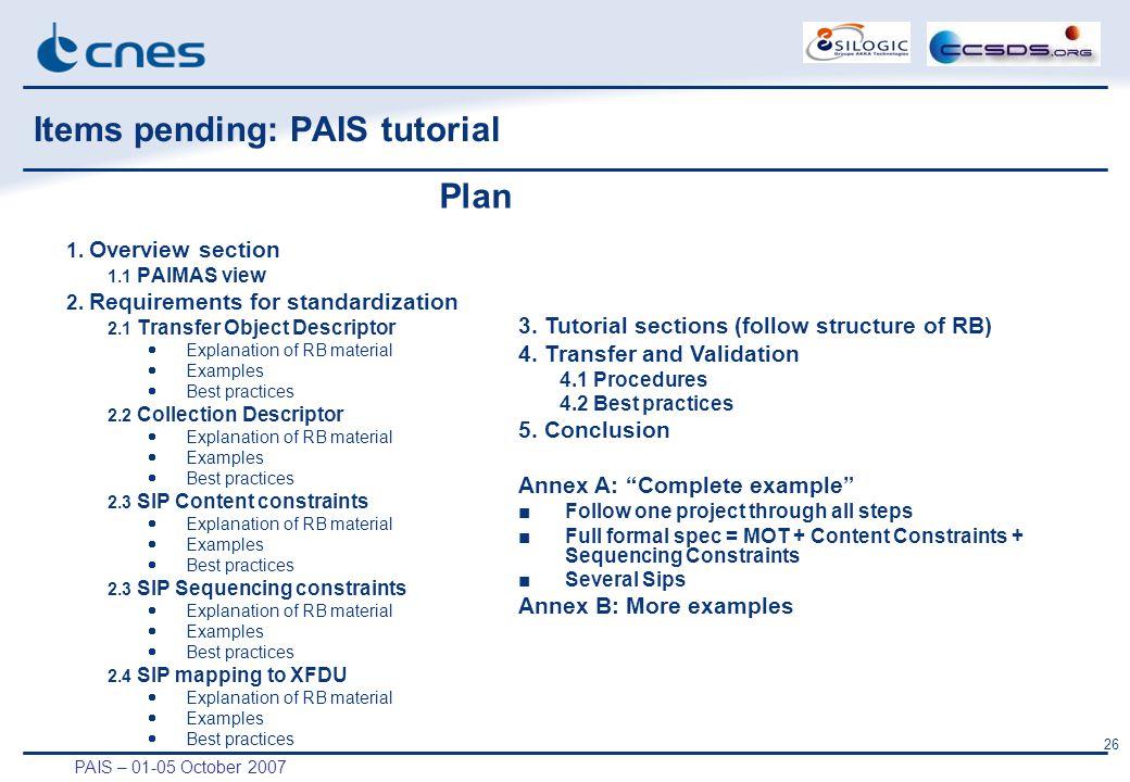 PAIS – 01-05 October 2007 26 Items pending: PAIS tutorial 1.