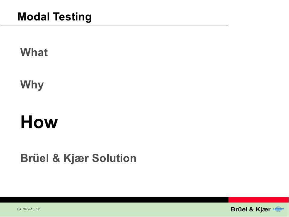 BA 7679-13, 12 What Why How Brüel & Kjær Solution Modal Testing