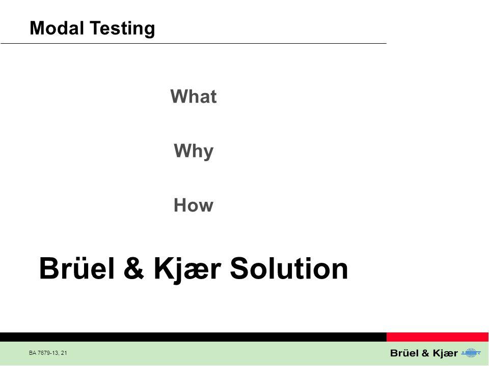 BA 7679-13, 21 Modal Testing What Why How Brüel & Kjær Solution