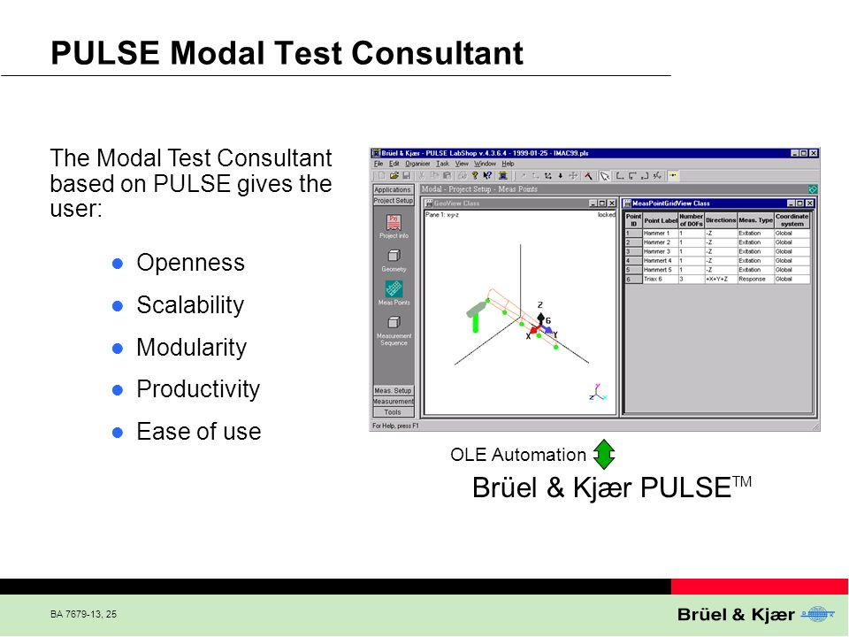 BA 7679-13, 25 PULSE Modal Test Consultant The Modal Test Consultant based on PULSE gives the user: Brüel & Kjær PULSE TM OLE Automation Openness Scal