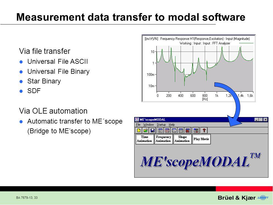 BA 7679-13, 33 Via file transfer Universal File ASCII Universal File Binary Star Binary SDF Via OLE automation Automatic transfer to ME´scope (Bridge