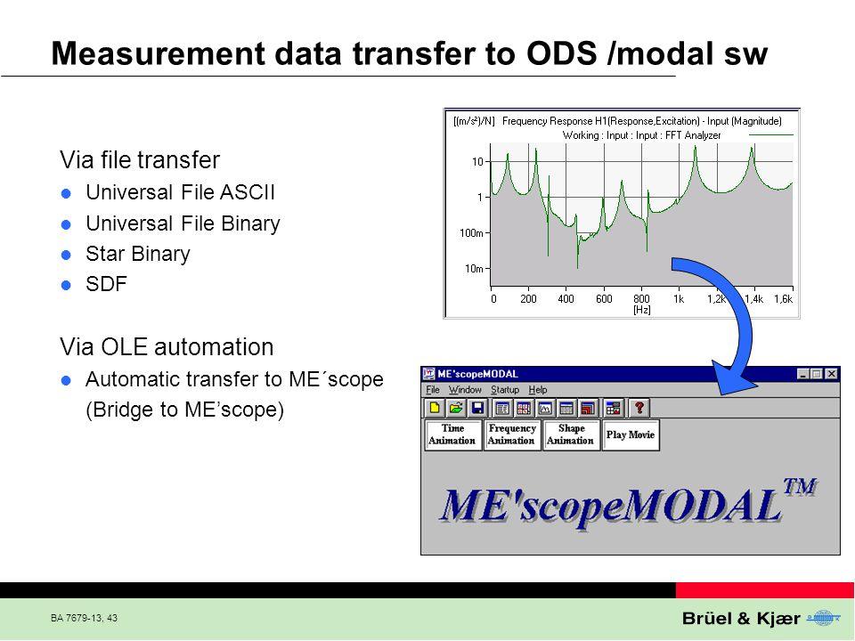 BA 7679-13, 43 Via file transfer Universal File ASCII Universal File Binary Star Binary SDF Via OLE automation Automatic transfer to ME´scope (Bridge
