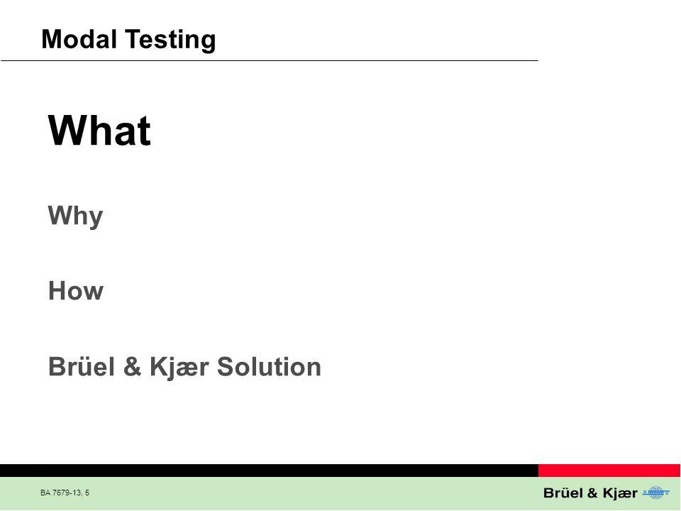 BA 7679-13, 5 Modal Testing What Why How Brüel & Kjær Solution