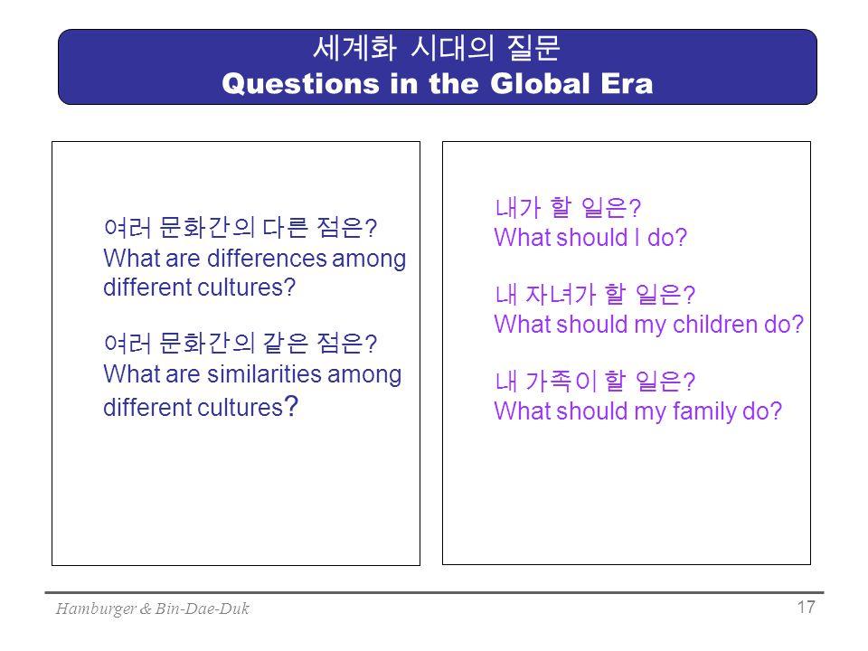 Hamburger & Bin-Dae-Duk 17 세계화 시대의 질문 Questions in the Global Era 여러 문화간의 다른 점은 .