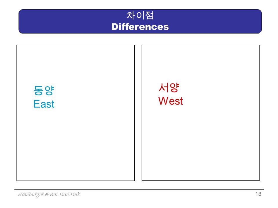 Hamburger & Bin-Dae-Duk 18 차이점 Differences 동양 East 서양 West