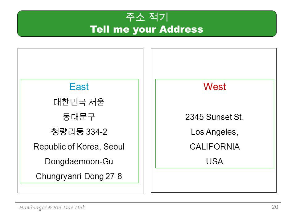 Hamburger & Bin-Dae-Duk 20 주소 적기 Tell me your Address East 대한민국 서울 동대문구 청량리동 Republic of Korea, Seoul Dongdaemoon-Gu Chungryanri-Dong 27-8 West 2345 Sunset St.