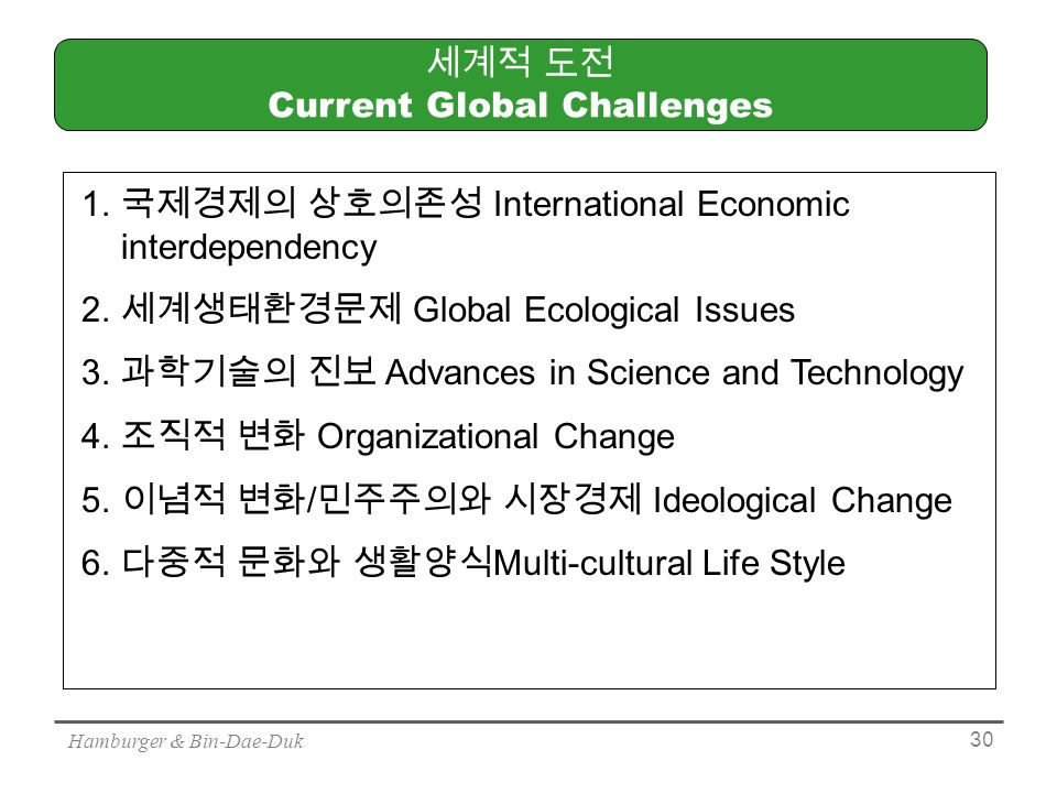 Hamburger & Bin-Dae-Duk 30 세계적 도전 Current Global Challenges 1.