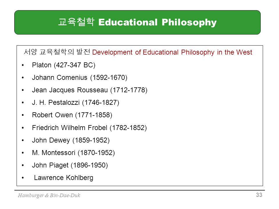 Hamburger & Bin-Dae-Duk 33 교육철학 Educational Philosophy 서양 교육철학의 발전 Development of Educational Philosophy in the West Platon (427-347 BC) Johann Comenius (1592-1670) Jean Jacques Rousseau (1712-1778) J.